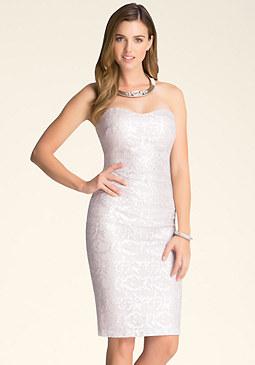 bebe Foil Lace Midi Dress
