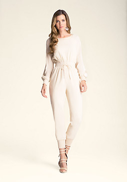 bebe Contrast Silk Jumpsuit
