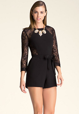 bebe Lace Back Romper