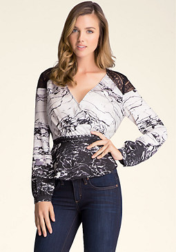 bebe Print Lace Inset Top