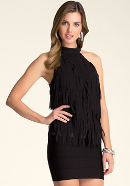 bebe Fringe Mock Neck Top