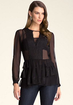 bebe Lace Trim Ruffle Tunic