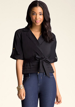 bebe Notched Collar Surplice Top