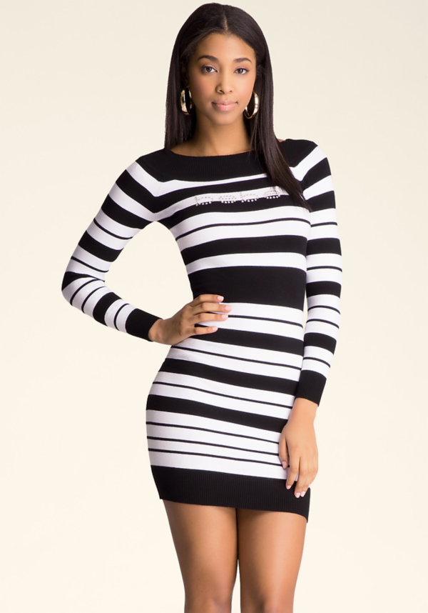 Boatneck Stripe Dress at bebe in Sherman Oaks, CA | Tuggl