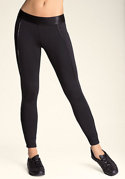 bebe Shimmer Foil Piped Leggings
