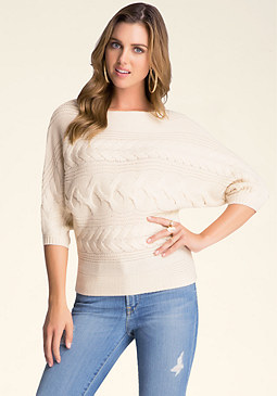 bebe Batwing Cable Sweater