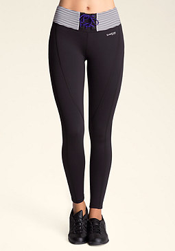 bebe Striped Lace-Up Leggings