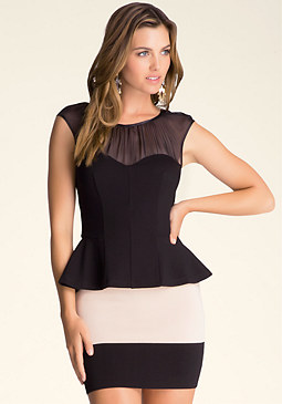 bebe Sheer Yoke Peplum Top