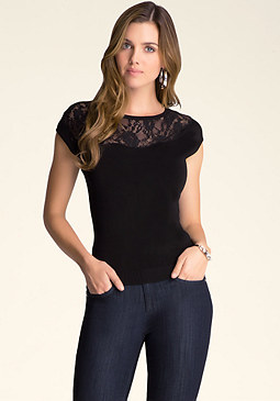 bebe Asymmetric Lace Sweater Top
