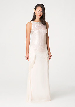 bebe Beaded Fringe Gown