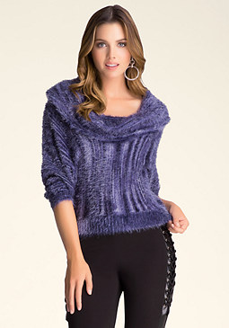 bebe Space Dye Cowl Neck Sweater