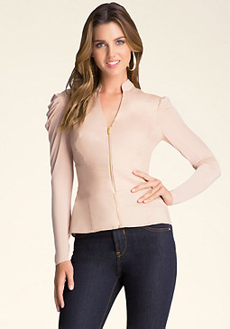 bebe Zip-Up Corset Waist Shirt