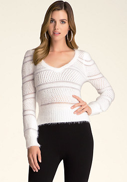 bebe Fuzzy V-Neck Sweater