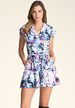 bebe Shirred Shoulder Romper