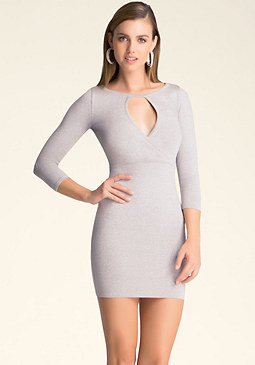 bebe Metallic 3/4 Sleeve Dress