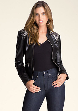 bebe Embellished Shoulder Jacket
