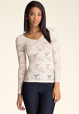 bebe Long Sleeve Lace Top