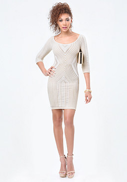 bebe Geo Slash Shimmer Dress