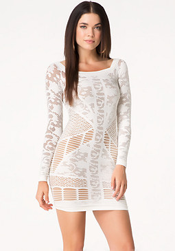 bebe Mixed Lace Dress