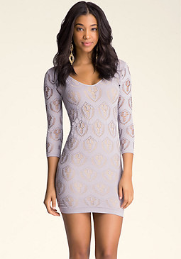 bebe Double V-Neck Lace Dress