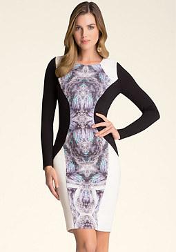 bebe Print Crewneck Dress