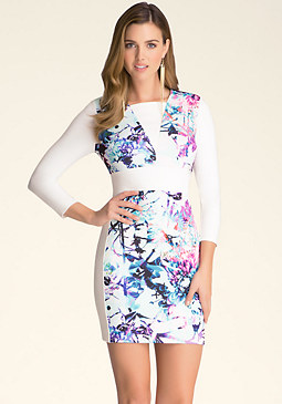 bebe Print Block Inset Dress