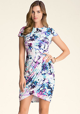 bebe Print Wrap Skirt Dress