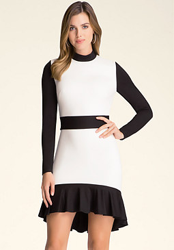 bebe Flounced Colorblock Dress