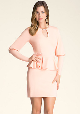 bebe Puff Sleeve Peplum Dress