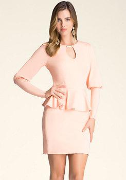 bebe Puff Sleeve Peplum Dress