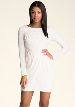 bebe Draped Tulip Overlay Dress