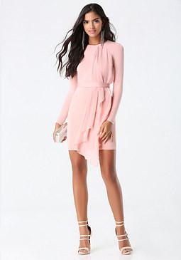 bebe Asymmetric Drape Dress
