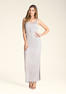 bebe Metallic Jersey Maxi Dress