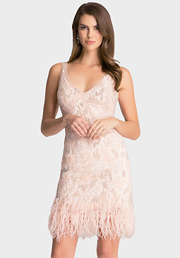 bebe Sequin Feather Trim Dress