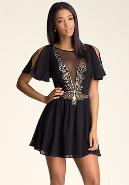 bebe Sequin Cold Shoulder Dress