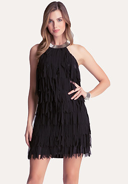 bebe Fringe Halter Shift Dress