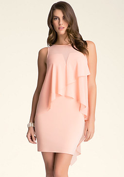 bebe Asymmetric Overlay Dress