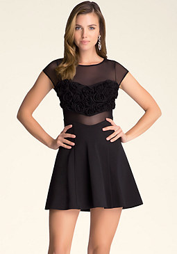 bebe Rosette Flare Dress