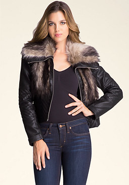 bebe Mixed Faux Fur Jacket