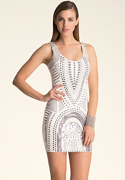 bebe Sleeveless Beaded Dress