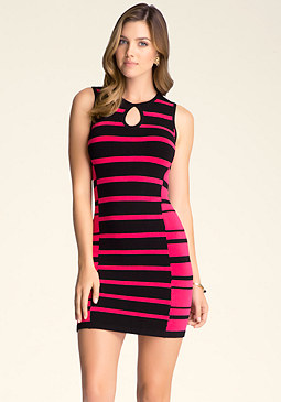 bebe Multi-Stripe Sweater Dress