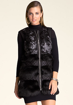 bebe Long Faux Fur Vest