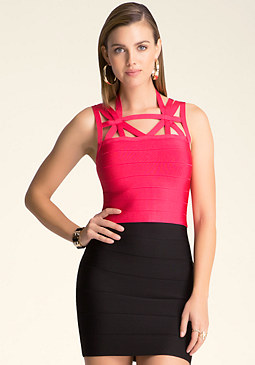 bebe Cutout Bandage Crop Top
