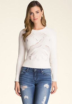 bebe Pointelle Stitch Sweater