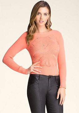 bebe Pointelle Stitch Sweater