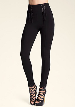 bebe High-Waist Lace-Up Leggings