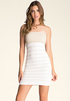 bebe Striped Fold-Over Tube Dress