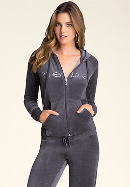 bebe Heather Velour Hoodie