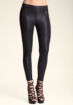 bebe Shimmer Zip Leggings