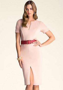 bebe Puff Sleeve Belted Dress